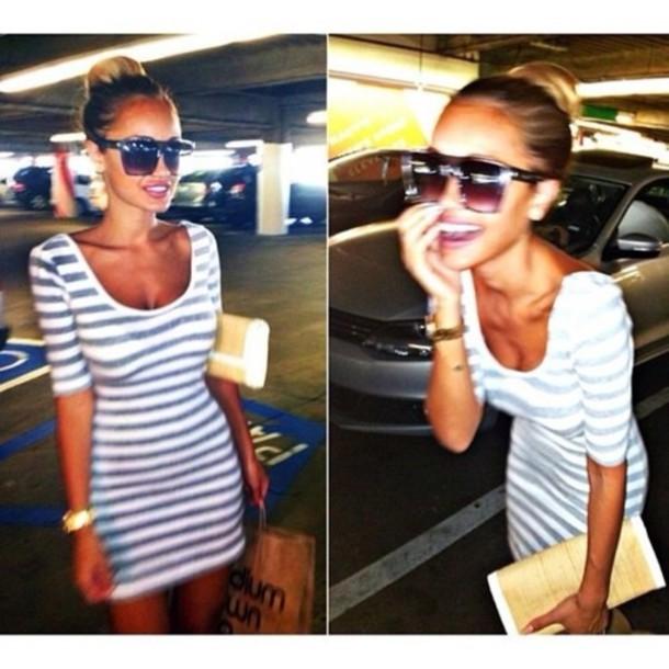 dress stripes white blue summer