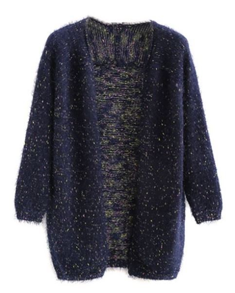 Navy Fluffy Open Front Cardigan With Colorful Polka Dots