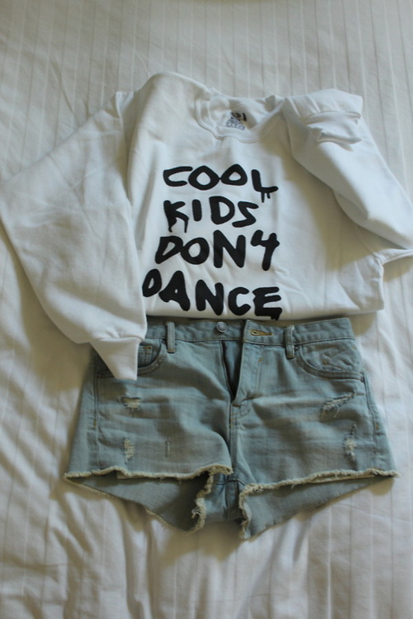 sweater jumper tumblr dance blouse cool don't shirt women fashion outfit clothes crewneck cute white black and white zayn malik one direction white sweater cool kids cool kids don't dance shorts jacket top hoodie pullover indie hipster