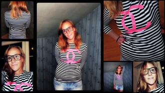 fashion black pink trendy chanel rayban raybans cc shirt logo print striped shirt 2014