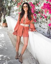 romper,tumblr,grey boots,peach,long sleeve romper,boots,ankle boots,sunglasses,mirrored sunglasses,v neck,plunge v neck,belt,spring outfits,coachella,coachella outfit,coachella romper