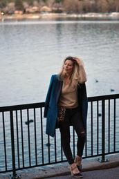 love maegan,blogger,jeans,coat,bag,sunglasses,jewels,shoes,blazer,blue jacket,animal print bag,winter outfits,pumps