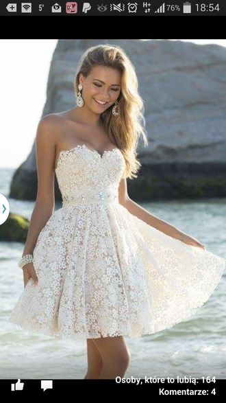 dress cream dress short dress lace dress flower lace prom