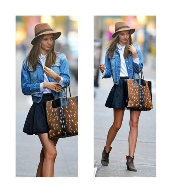 jacket undefined denim jacket boots miranda kerr skirt animal print ankle boots denim jacket hat