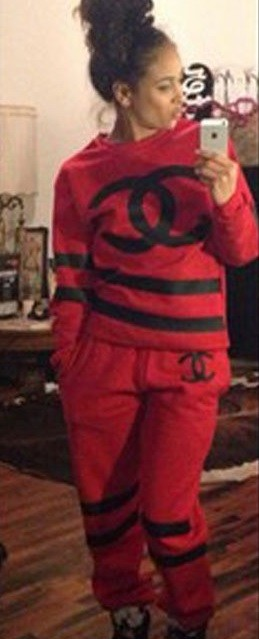 Chanel red tracksuit