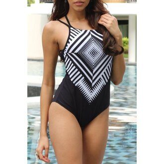 swimwear black black and white strappy backless sexy one piece swimsuit trendy rose wholesale