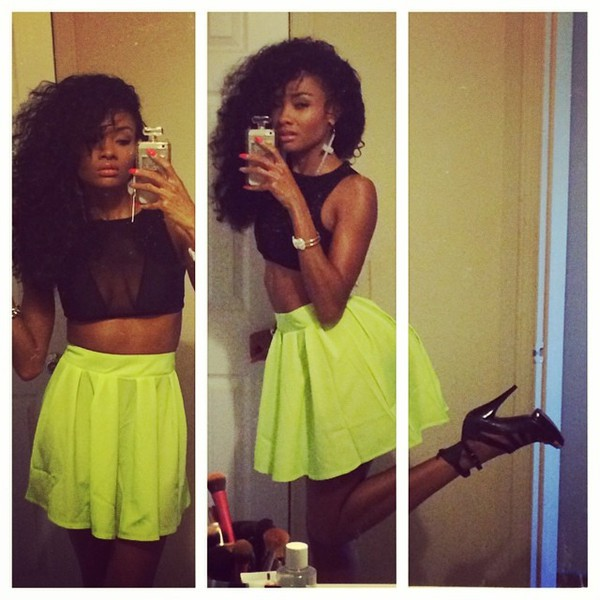 skirt neon light neon green skater skirt