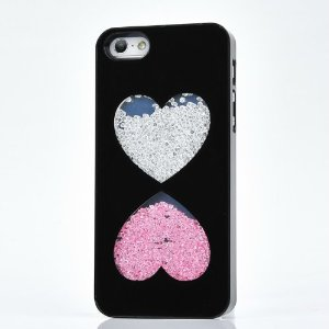Sweet hearts sand clock design diamond crystal cover case (black frame): cell phones & accessories