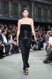 dress,strapless,strapless dress,sandals,bella hadid,model,runway,maxi skirt,maxi dress,bustier dress,fashion,gown,prom dress,givenchy,fashion week 2016