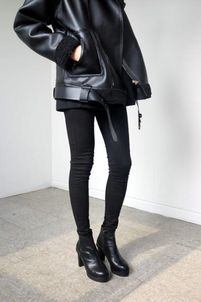 Jacket cool jacket fur leather jacket leather fur tumblr tumblr outfit ...