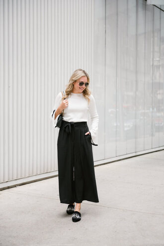 bows&sequins blogger pants sweater bag shoes jewels sunglasses