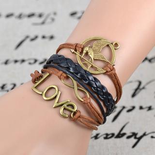 Trendy infinity bird love multideck hand knitting braided bracelet_2.59