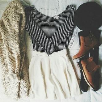 skirt long sleeve shirt stripes knit brown booties cardigan