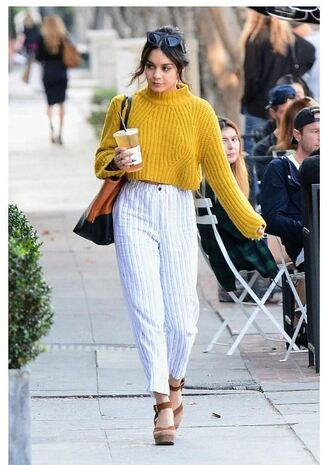 sweater cropped cropped sweater pants vanessa hudgens fall outfits mustard sweater mustard streetstyle shoes