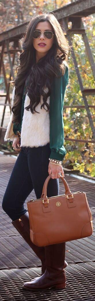 cardigan fur faux fur jacket faux fur vest winter sweater winter outfits green classy dressy blouse jacket top coat sweater pants