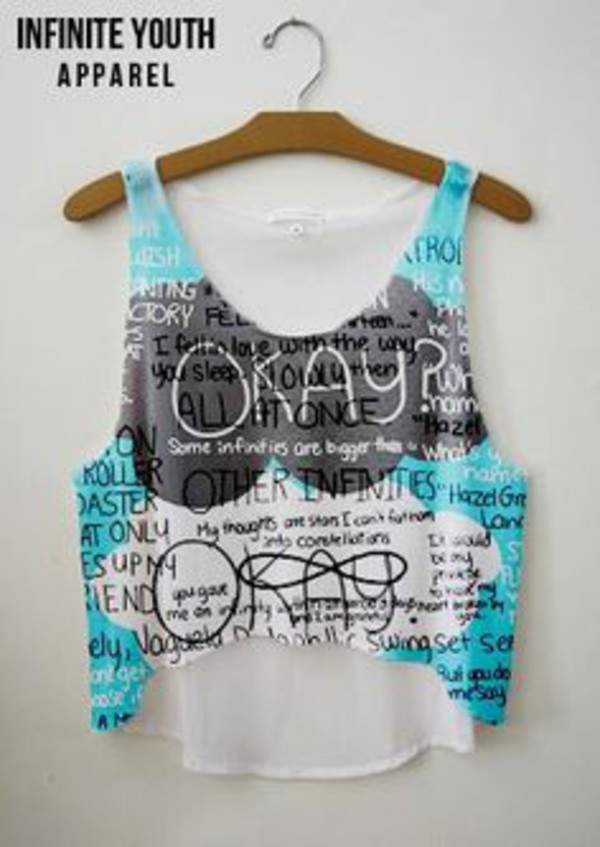 tfios top tank top crop tops blue top graphic tee