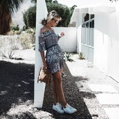 happily grey,blogger,bag,shoes,t-shirt,shorts,off the shoulder,grey dress,mini dress,clutch,waist belt,white sneakers