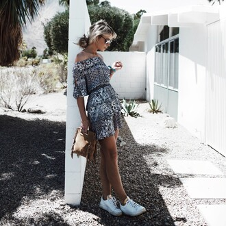 happily grey blogger bag shoes t-shirt shorts off the shoulder grey dress mini dress clutch waist belt white sneakers