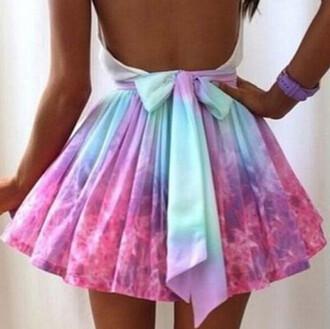 skirt pastel bow pink blue lilac vibrant color skater skirt pleated skirt