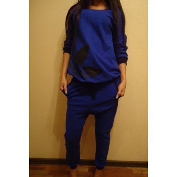swag hip-hop streetwear jumpsuit bunt tracksuit blue streetstyle sexy adidas homewear