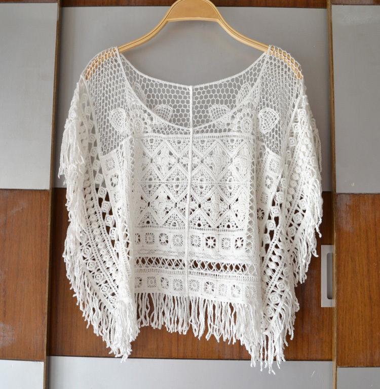 Women lace crochet knit tassel bat sleeve loose t shirt tee tops blouse one size