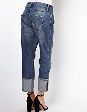 ASOS | ASOS Brady Slim Boyfriend Jeans in Vintage Wash with Raw Hem Deep Turn Up at ASOS
