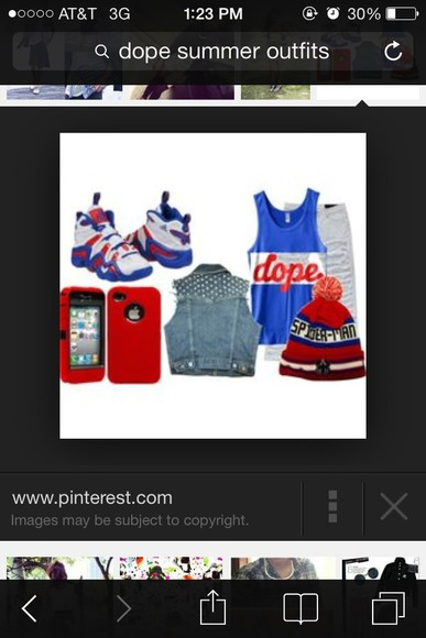 superman red shirt hat dope beanie blue white shoes