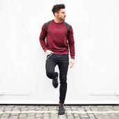 sweater,maniere de voir,satin,ripped,panel,oxblood,red jumper,red sweater