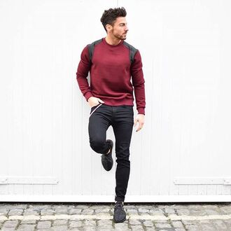 sweater maniere de voir satin ripped panel oxblood red jumper red sweater