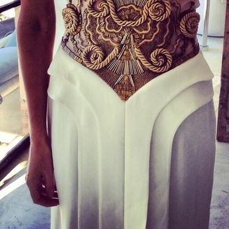 dress white gold white dress gold dress beaded rope prom formal