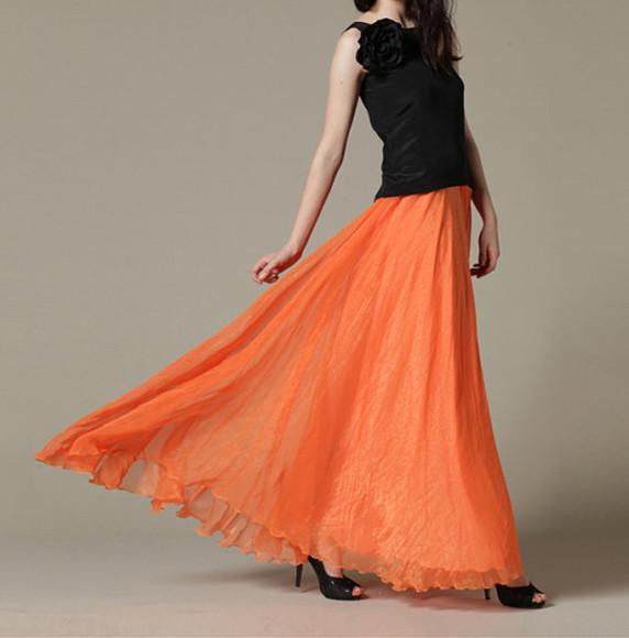 skirt maxi skirt orange skirt summer skirt maxi skirt long chiffon skirt