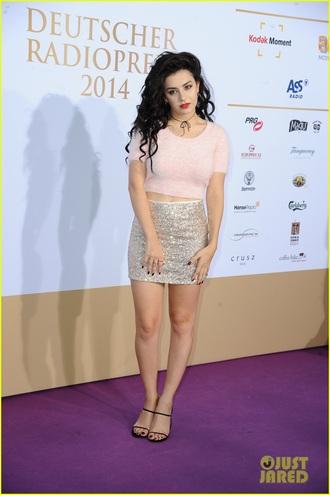 blouse charli xcx skirt mini skirt sequin skirt sequins top crop tops pink top sandals sandal heels high heel sandals black sandals choker necklace