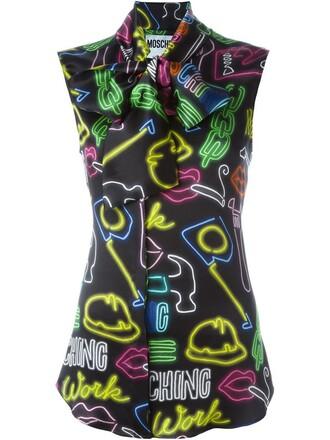 blouse neon women black silk top