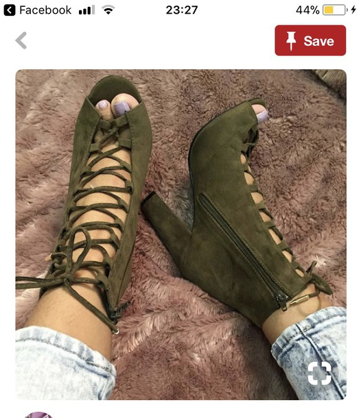 shoes khaki black chunky lace up heels heels laceup heels
