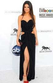 dress,selena gomez,prom dress,black,black prom dress,cut-out dress