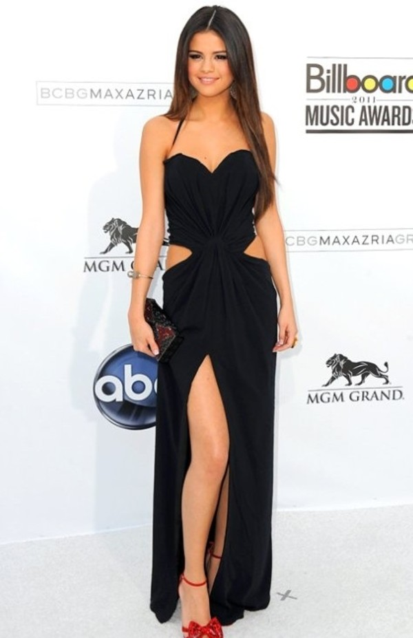 dress selena gomez prom dress black black prom dress cut-out dress