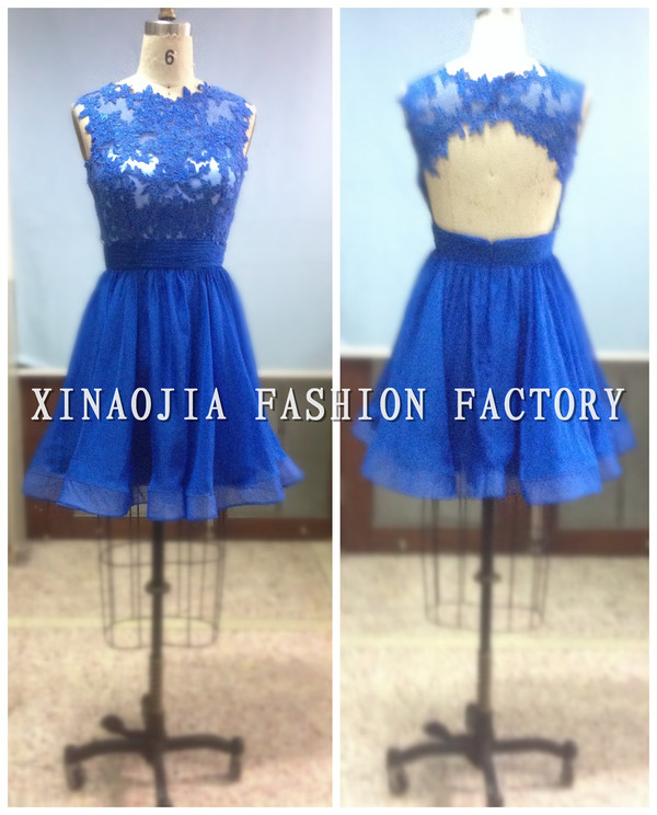 royal blue dress appliques prom dresses 2014 cheap mini dresses backless short prom dress