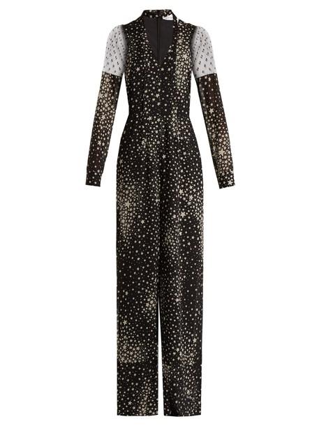 REDValentino jumpsuit print silk white black