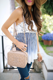 top,tumblr,stripes,striped top,bag,nude bag,denim,jeans