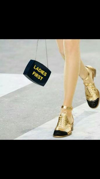 bag ladiesfirst shoes gold walk