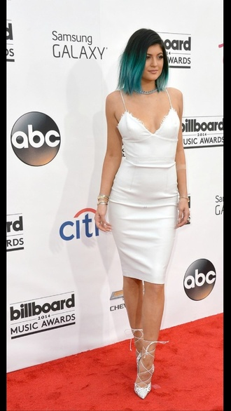 kylie jenner white lace dress shoes