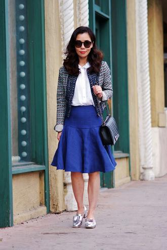 hallie daily jacket skirt shoes t-shirt shirt bag sunglasses