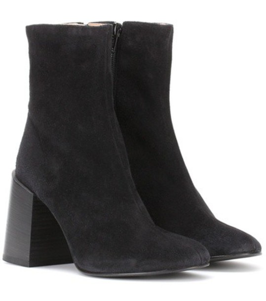 Acne Studios Saul Reverse suede ankle boots in black