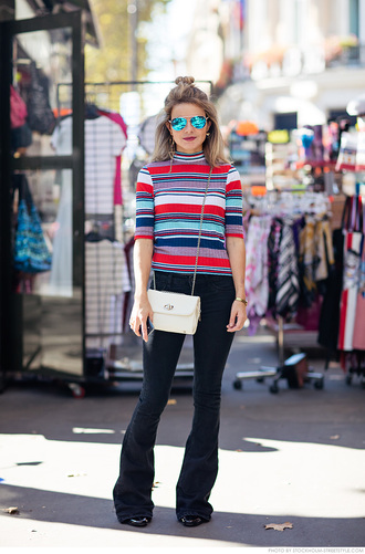 carolines mode blogger striped sweater flare jeans mirrored sunglasses