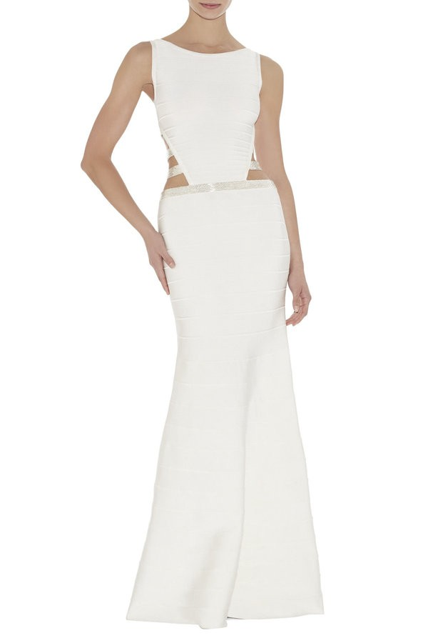 Raquel couture white cut out bandage gown