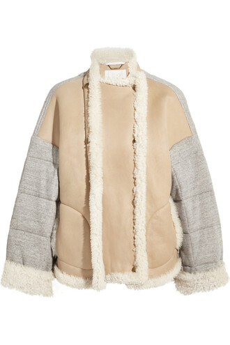 jacket oversized quilted cotton cream neutral