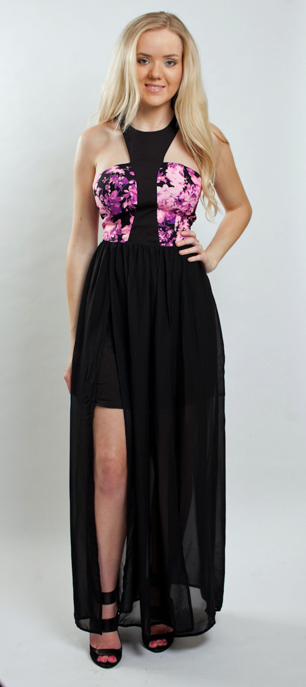 dress maxi pink maxi dress sheer skirt www.deliriumfashions.com.au black