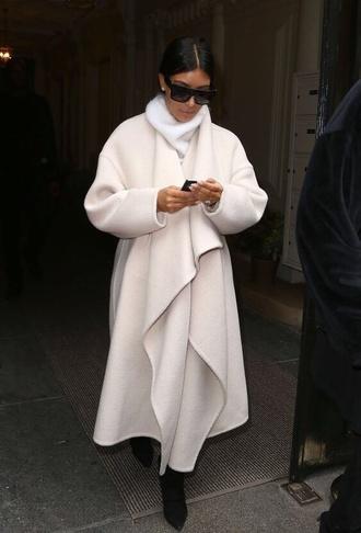 creme kim kardashian coat cream