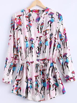 dress pink trendy cool ethnic fashion long sleeves pattern dressfo