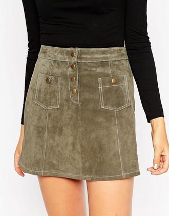 skirt suede skirt a line skirt mini skirt suede button up skirt
